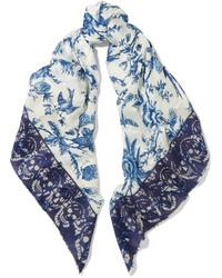 Écharpe imprimée blanc et bleu
