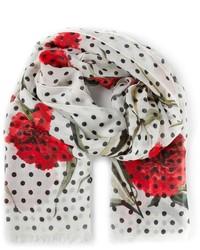 Écharpe imprimée blanc et rouge
