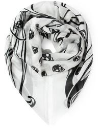Écharpe imprimée blanche et noire Alexander McQueen