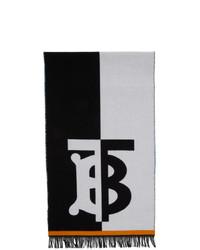 Écharpe imprimée blanche et noire Burberry