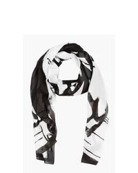 Écharpe imprimée blanche et noire McQ Alexander McQueen