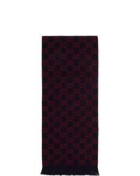 Écharpe imprimée bleu et rouge Gucci