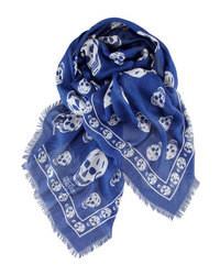 Écharpe imprimée bleu marine et blanc