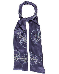 Écharpe imprimée bleu marine