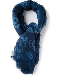 Écharpe imprimée bleu marine Alexander McQueen