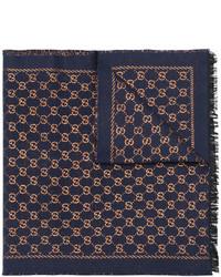Écharpe imprimée bleu marine Gucci