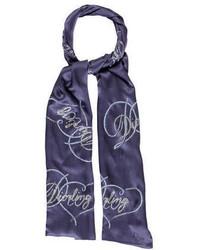 Écharpe imprimée bleue marine