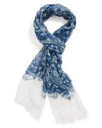 Écharpe imprimée bleue