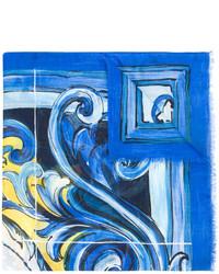 Écharpe imprimée bleue Dolce & Gabbana