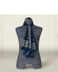 Écharpe imprimée cachemire bleu marine