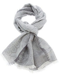 Écharpe imprimée cachemire grise Brioni