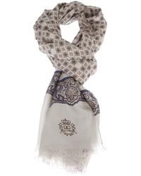 Écharpe imprimée cachemire grise Dolce & Gabbana