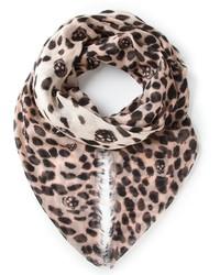 Écharpe imprimée léopard beige