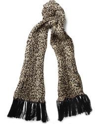 Écharpe imprimée léopard beige Saint Laurent