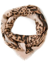 Écharpe imprimée léopard beige Valentino Garavani