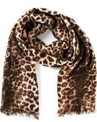 Écharpe imprimée léopard brune By Malene Birger