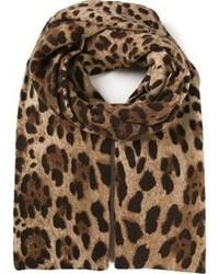 Écharpe imprimée léopard brune Dolce & Gabbana