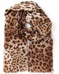 Écharpe imprimée léopard marron