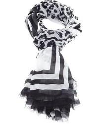Écharpe imprimée léopard noire et blanche Marc Jacobs