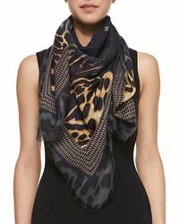 Écharpe imprimée léopard noire