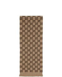 Écharpe imprimée marron clair Gucci