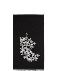 Écharpe imprimée noire et blanche Alexander McQueen