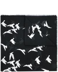Écharpe imprimée noire Saint Laurent