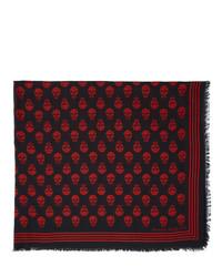 Écharpe imprimée rouge et noir Alexander McQueen