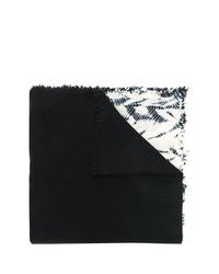 Écharpe imprimée tie-dye noire et blanche Suzusan