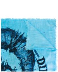 Écharpe imprimée turquoise Diesel