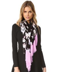 Écharpe légère à fleurs noire Kate Spade