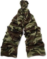 Écharpe légère camouflage marron foncé Saint Laurent
