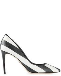 Escarpins à rayures horizontales blancs et noirs