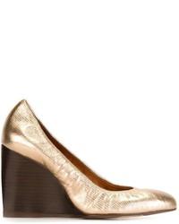 Escarpins compensés en cuir dorés Lanvin