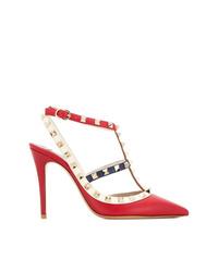 Escarpins en cuir à clous rouges Valentino