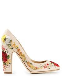 Escarpins en cuir à fleurs beiges Dolce & Gabbana