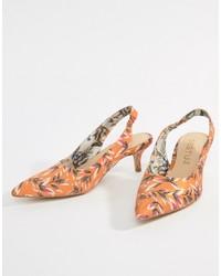 Escarpins en cuir à fleurs orange Gestuz