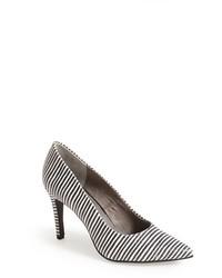 Escarpins en cuir à rayures horizontales blancs et noirs