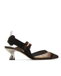Escarpins en cuir à rayures horizontales noirs Fendi