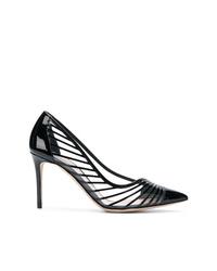 Escarpins en cuir à rayures horizontales noirs Giorgio Armani
