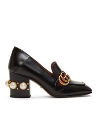 Escarpins en cuir à rayures horizontales noirs Gucci