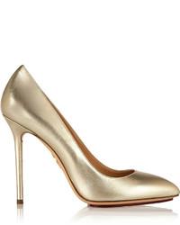 Escarpins en cuir beiges Charlotte Olympia