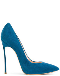 Escarpins en cuir bleu canard Casadei