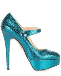 Escarpins en cuir bleu canard Charlotte Olympia