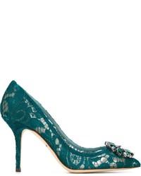 Escarpins en cuir bleu canard Dolce & Gabbana