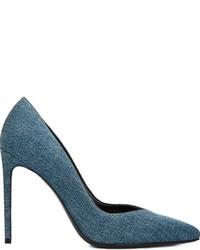Escarpins en cuir bleu canard Saint Laurent
