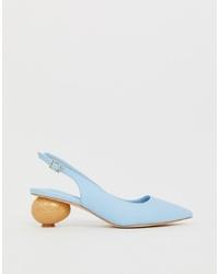 Escarpins en cuir bleu clair ASOS DESIGN