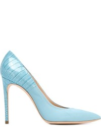 Escarpins en cuir bleu clair Casadei