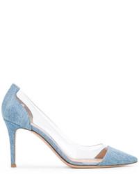 Escarpins en cuir bleu clair Gianvito Rossi