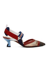 Escarpins en cuir bleu et rouge Fendi